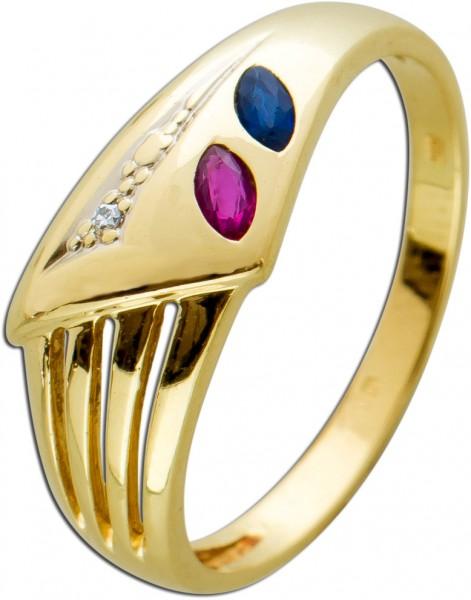 Edelstein Ring Gelb Gold 585 roter Rubin blauer Safir navetteförmig facettiert weisser Diamant 8/8 W/P 0,01ct