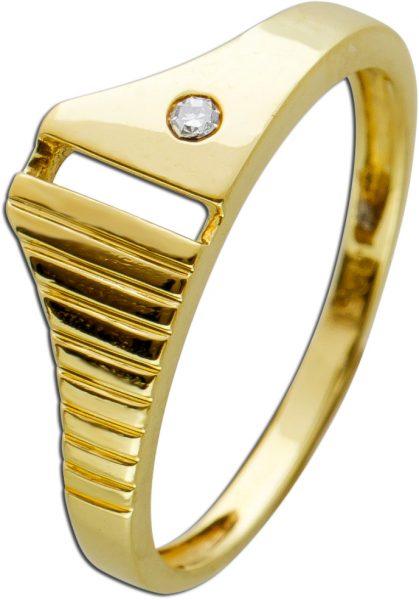 Vintage Diamantring Gelbgold 585 70er Jahren weisser Diamant 0,01ct 8/8 W/P1