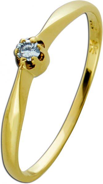 Antiker klassischer Solitärring Gelbgold 585 60-er Jahren Diamant Brillant 0,06ct TW/VSI Krappen gefasst Gr. 18,8mm