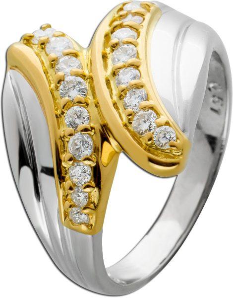Antiker Ring 70er Jahren weißen Brillanten Platin 900 Gelbgold 750 0,51ct TW/VSI Görg Zertifikat