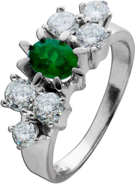 Antiker Edelstein Ring Weissgold 585 grüner Smaragd Doublette 0,70ct Brillanten zus 1,10ct TW/VSI 50er Jahre Top Zustand