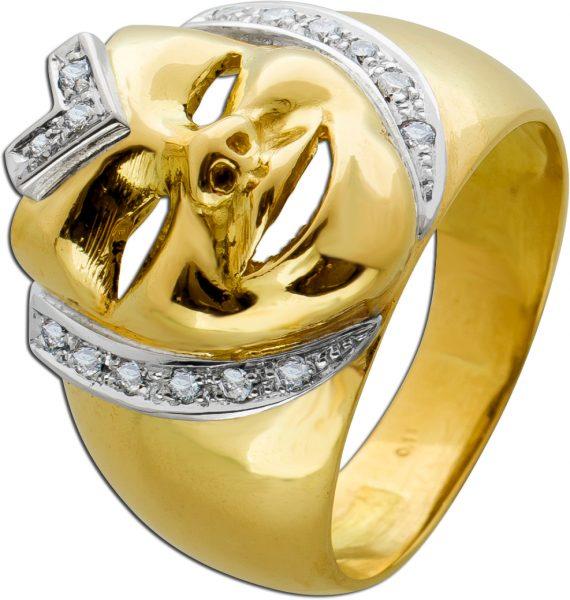 Antiker Ring 70er Jahre Gelbgold 750 Masken Harleyquinn Design Brillanten 0,11ct WP1