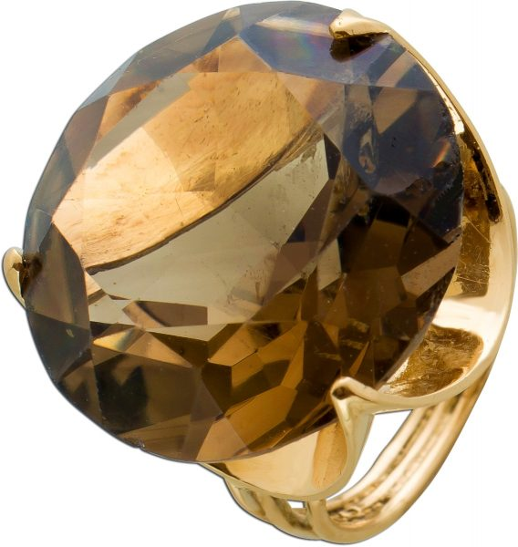 Antiker Edelstein Ring 50er Jahre Gelb Gold 585 Rauchquarz facettiert Rundschliff Gr. 16,8mm