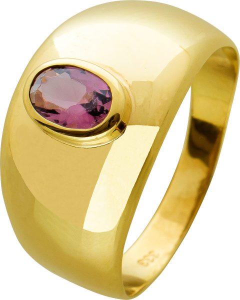 Antiker Lila Amethyst Edelstein Ring Gelbgold 333 violetter Edelstein massive Optik  80-er Jahre Gr. 18mm