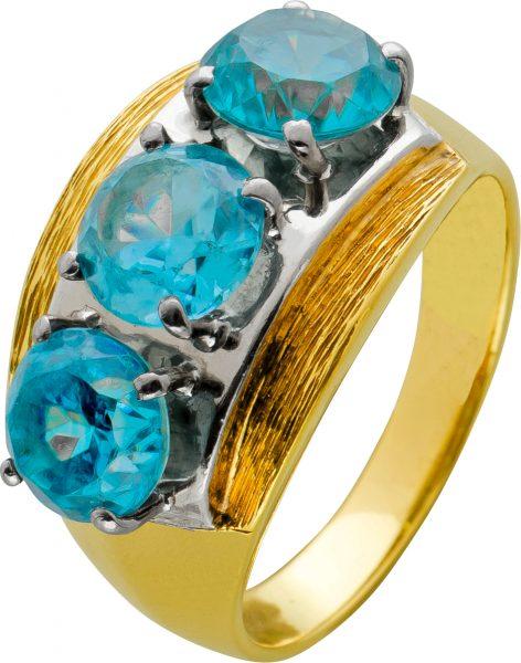 Antiker Edelstein Ring von 1920 Bicolor Gelbgold Weissgold 585 blau leuchtende Quarzedelsteine Unikat