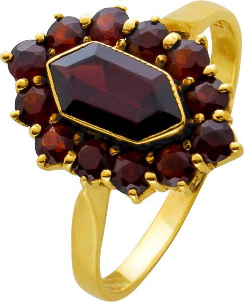 Antiker Granatring um 1880 roten böhmischen Granaten Gelbgold 333  Edelsteinschmuck 17,5mm
