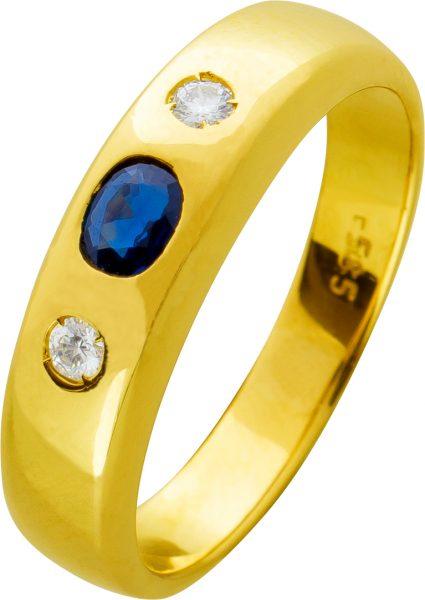 Antiker Safir Brillant Ring 70er Jahre blauen Saphir Gelbgold 585 weißen Brillanten 0,12 Carat TW/VVSI Edelsteinschmuck