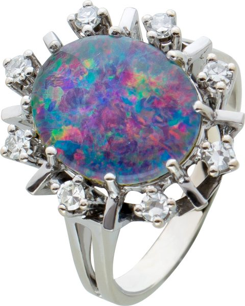 Antiker Opal Diamant Ring 50er Jahren Opal Dublette bunten Farbspiel Weissgold 585 Brillanten 0,20ct TW/VVSI Edelsteinschmuck