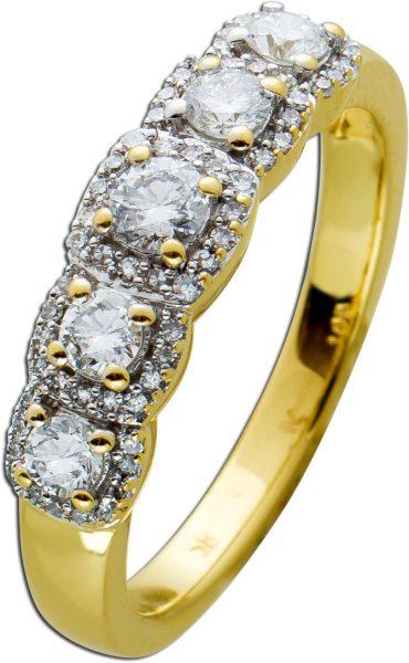 Memoire Brillant Allianz Ring weißen Brillanten 0,42 Carat Diamanten 0,50 Carat TW/VSI Gelbgold 585 Weissgold 585 Fassung