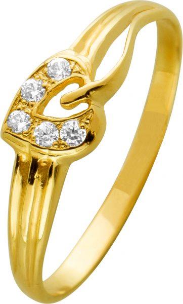 Herzförmiger Goldring weißen Zirkonia Steinen Gelbgold 585 Damenschmuck 17,2mm