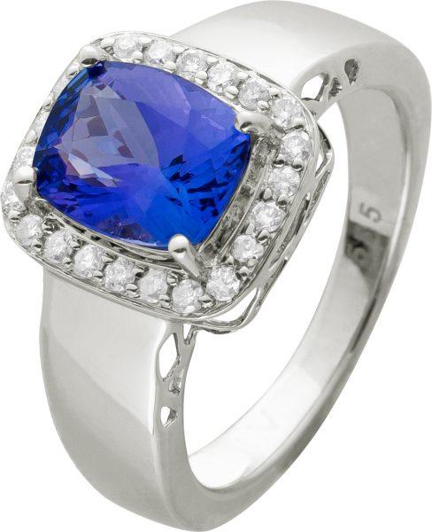 Tansanit Ring lila violettfarbenen Tansanit Stein 1,5 Carat Weissgold 585 weißen Brillanten 0,22 Carat TW/P1 Edelsteinschmuck