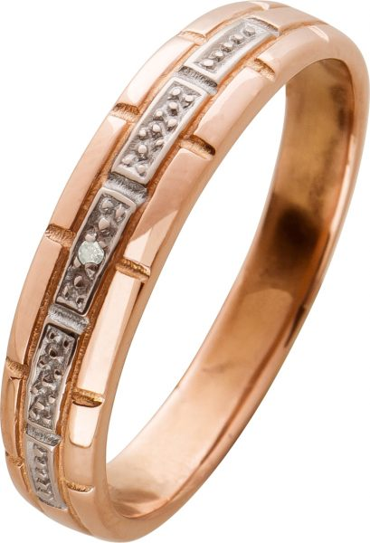 Antiker Diamantring 0,005ct 8/8W/P1 Rosegold 333 Kettenoptik aus den 80er Jahren