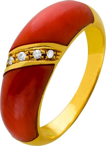 Antiker Korallen Diamant Ring 50er Jahren Koralle orange-rotfarben Gelbgold 750 weißen Diamanten jeweils 0,005 Carat 8/8 W/P1