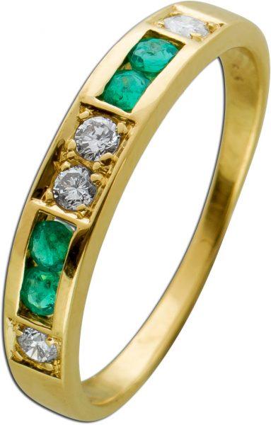 Brillant Smaragd Edelsteinring Gelbgold 585 Brillanten grüne Smaragde Kanalgefasst