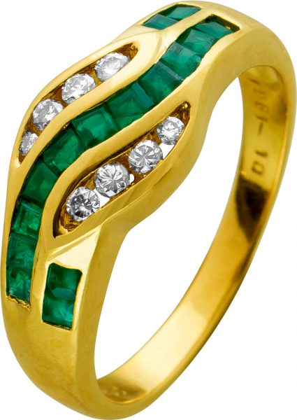 Smaragd Brillantring Gelbgold 750 grüne Carree Smaragde Diamanten geschwungene Schlangenoptik