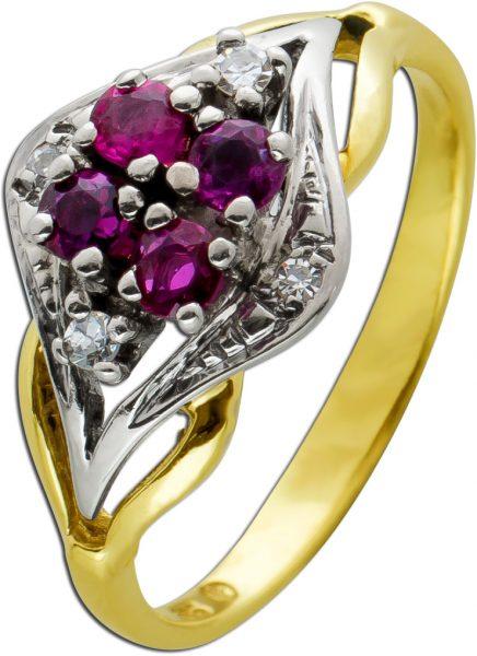 Antiker Edelstein Ring Gelb Gold 585 rote Rubine weisse Diamanten 8/8 zus 0,04ct TW/SI 17,5mm 3,4 Gramm