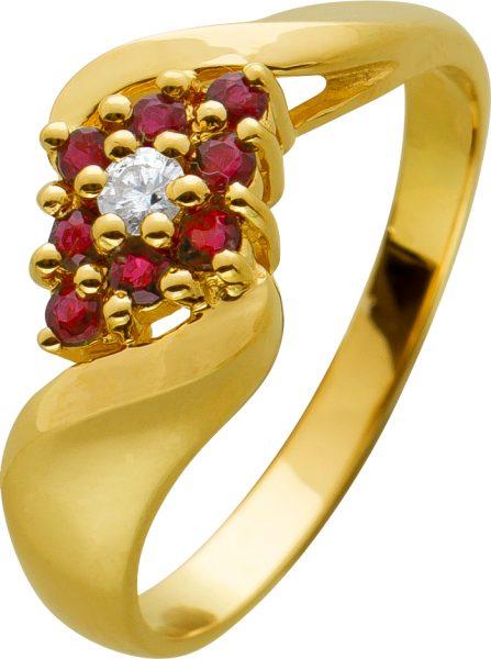 Brillant Rubin Edelsteinring Gelbgold 585 Diamant 0,05ct W/P rote Rubine Blütenfassung poliert 17mm 3,1 Gramm