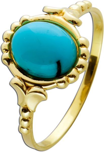 Antiker Türkis Ring 70er Jahre Gelbgold 333 hellblauer Türkis Cabochonschliff Gr. 20,8mm