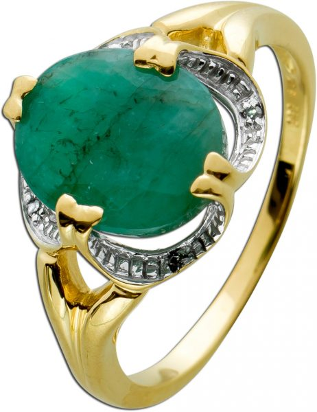 Ring Gelbgold Weissgold 585 Smaragd 2 carat 4 Diamanten 8/8 W/P Gr.20,1mm