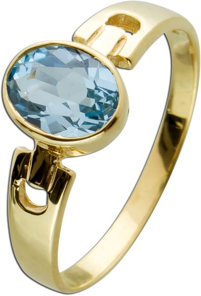 Moderner Ring in Kettenoptik Gelbgold 333 mit einemBlautopas ca 1ct, Gr. 21mm
