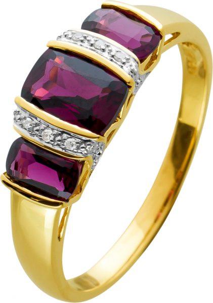 Edelsteinring Gelbgold 585mit 3 Granat Edelsteinen sowie 6 Diamanten zus. 0,06ct 8/8 W/P