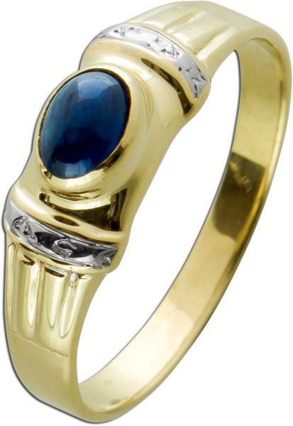 Moderner Edelsteinring Gelbgold 333 mit einem ovalen blauem Safir Cabochon Gr. 21mm