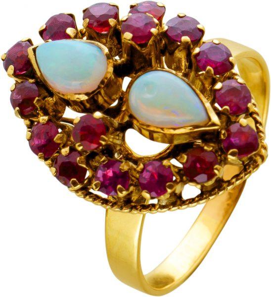 Antiker Edelsteinring Rosegold 750 um 1870 2 Opaltropfen und 25 Rubine