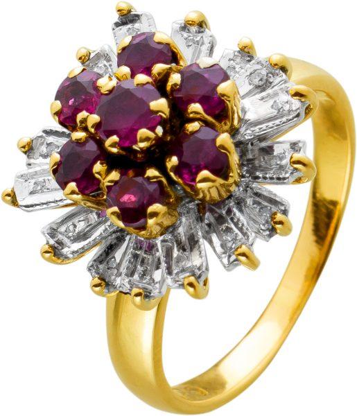 Antiker Rubin Ring Gelbgold 585 Diamanten 70er Jahren, Gr. 17mm