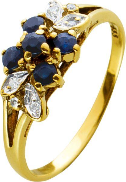 Antiker Safir Ring Gelbgold 333 blau Safire weisse Diamanten 50er Jahre, Gr. 15,8mm