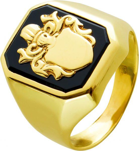 Antiker Herrenring Wappenring Ring Gelbgold 333 schwarz Onyx Herrenschmuck 30er Jahren, Gr. 18,6mm