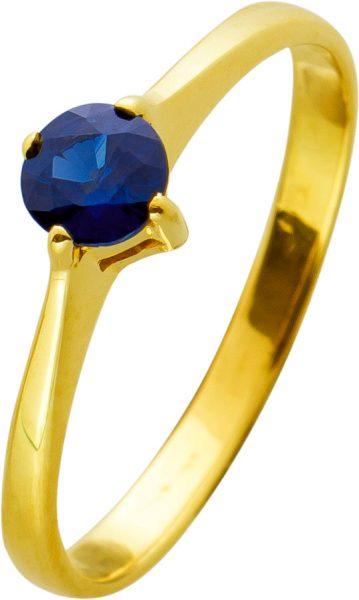 Antiker Edelsteinring Ring Gelbgold 585 blauer Safir 0,25ct, Gr.16,5mm