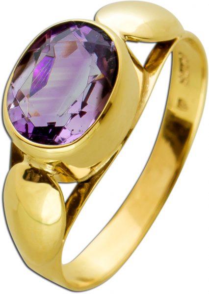 Antiker Amethyst Ring Gelbgold 333 Poliert Edelstein Oval Facettiert Um 1900 TOP Zustand