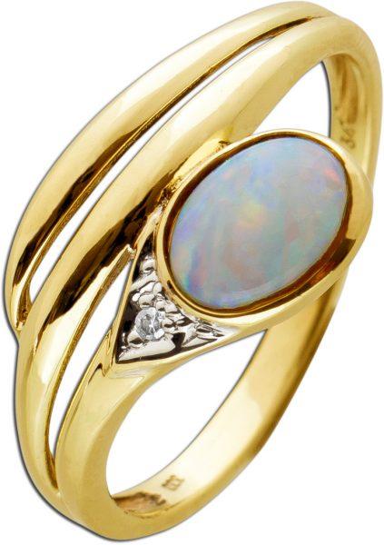 Antiker Diamant Opal Ring Schlangenoptik Gelbgold 333 Poliert Diamant 8/8 Schliff W/SI Edelstein Um 1970 TOP Zustand