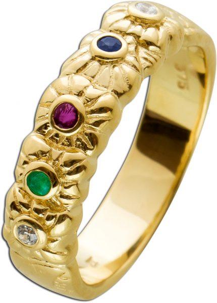 Brillant Edelstein Ring Gelbgold 333 Poliert Rubin Saphir Smaragd Brillanten W/SI