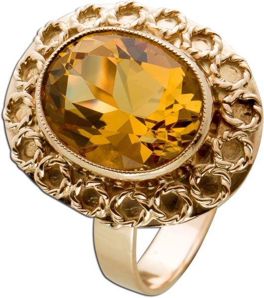 Antiker Citrin Ring Gelbgold Weissgold 333 Poliert Eldestein Oval Ca. 3 Carat Fein Aufgelötete Verzierungen Um 1920 TOP Zustand