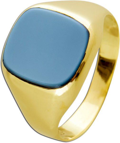 Antiker Blautopas Ring Sieglring Optik Gelbgold 585 Poliert Edelstein Hellblau Um 1960 Sehr Guter Zustand