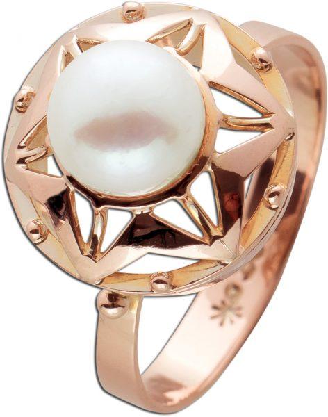 Antiker Perlen Ring Sternenoptik Gelbgold 333 Poliert Perle Weiß Cremefarben Rose Gold Fassung Um 1900 TOP Zustand