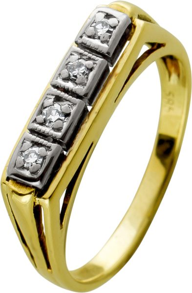 Antiker beisteckring Gold 14kt Diamanten Weissgold