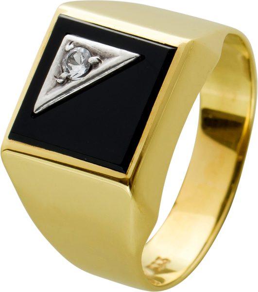 Antiker Herrenring 60er Jahre Gelbgold 333 tiefschwarzer Onyx  Edelstein mit funkelndem Brillant