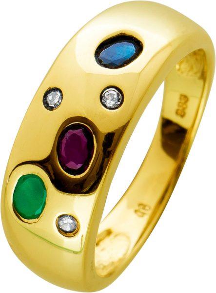 Edelsteinring Vintage Gelbgold 333/-  Saphir Smaragd Rubin und Diamanten