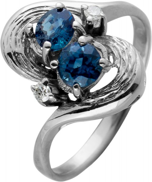 Antiker Saphirring Weissgold 585/- Saphire Diamanten