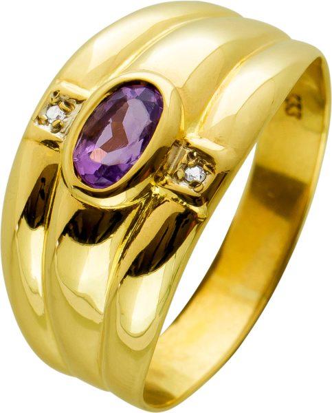 Edelsteinring Gelbgold 333 mit Amethyst Diamanten