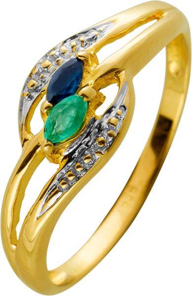 Smaragd Safir Ring Gelbgold Weissgold 585