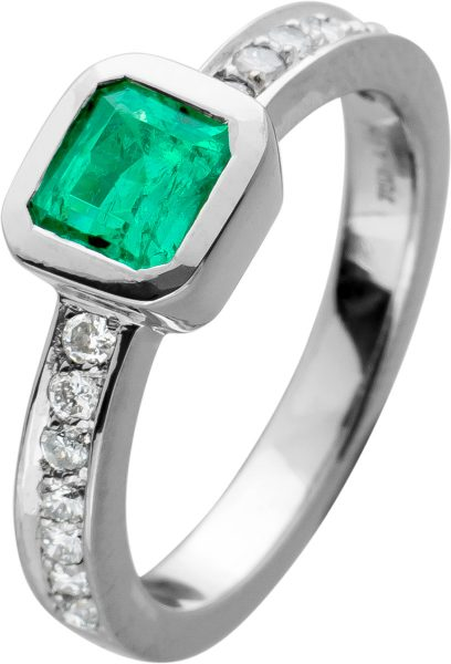 Ring Weissgold 750,Smaragd,14 Brillanten zus. 0,50ct, TW/VSI, massive Anfertigung, 6,8Gramm, Gr. 17,2mm