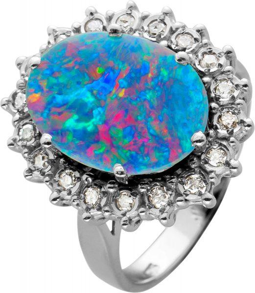Antiker Opal Diamantring,Gelbgold,Weissgold 585,1Opal, 20 Diamanten zus. 0,20ct W/I1, Gr. 16,2mm