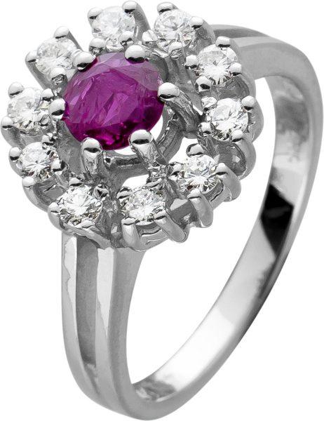 Antiker Rubin Ring Weissgold 585,1 Rubin 0,50ct,10 Brillanten zus.0,35ct, W/I1,60er Jahre, Top Zustand, Gr. 17mm