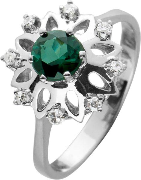 Antiker Turmalin Edelstein Diamantring Weissgold 585,8 Diamanten 8/8 zus.0,10ct W/VSI,2,5 Gramm,Gr. 16mm