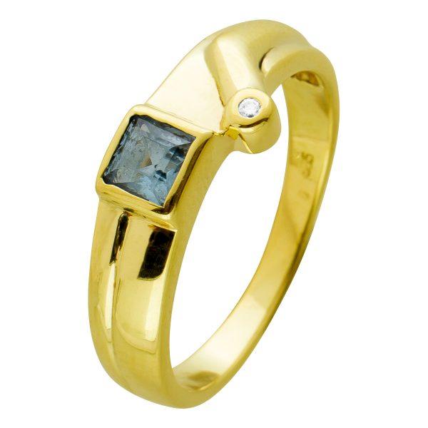 Antiker Brillant Edelstein Ring 70er Jahre,Gelbgold 585 Blautopas Edelstein, 1 Brillant 0,01ct TW/SI, Zargen gefasst, Gr. 17,8mm