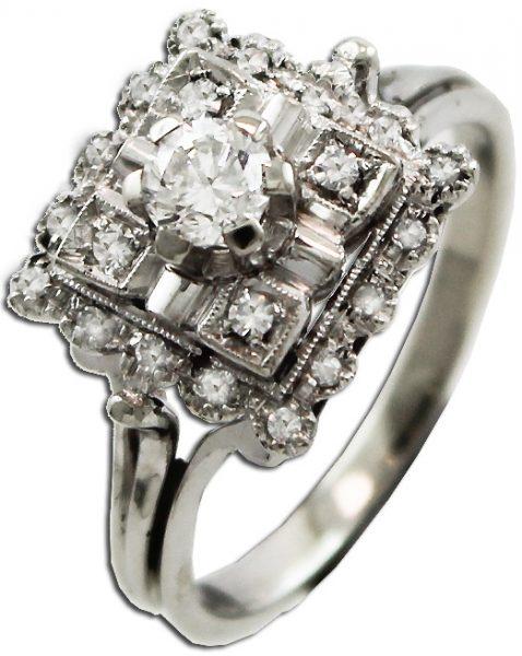 Antiker Ring Weissgold 750 aus den 70er Jahren 1 Brillant 0,27ct  20 Diamanten 8/8 TW/VSI Gr. 17,2mm