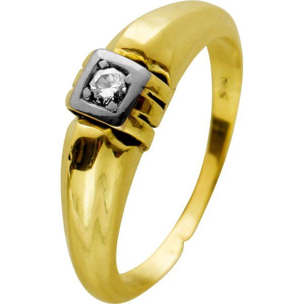 Antiker Brillant Solitärring Ring Gelbgold Weissgold 585, um 1880, 1 Brillant 0,05ct TW/SI,Gr. 18,2mm